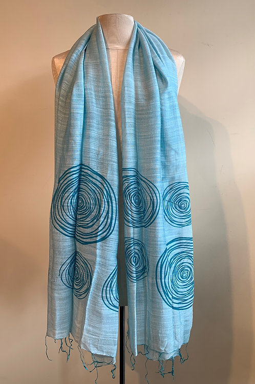 Modern Circles Scarf in Ocean Blue