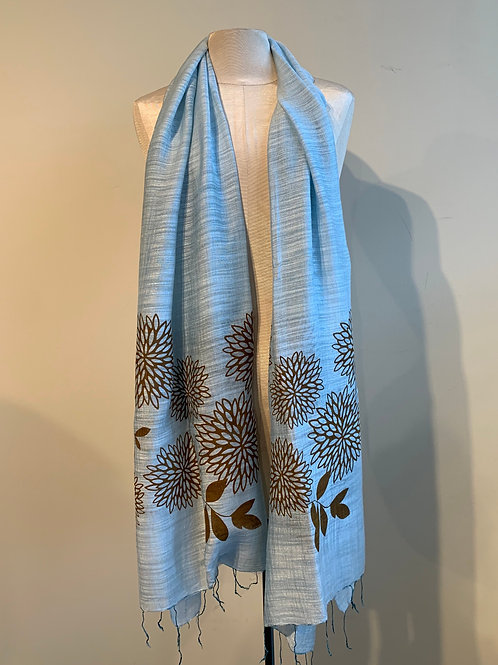 Chrysanthemum Scarf in Pale Blue