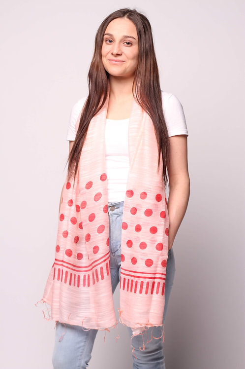 Dots Scarf in Pale Pink/Red