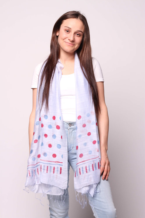 Dots Scarf in Sailor Blue/Red