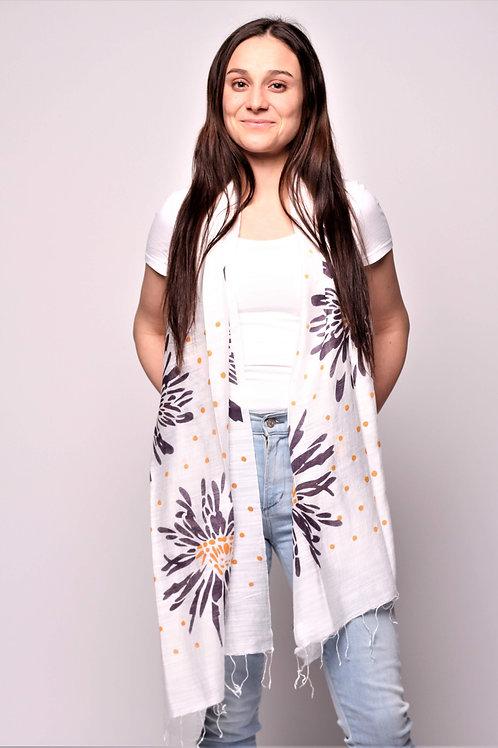 Dhalia Scarf in White/Black