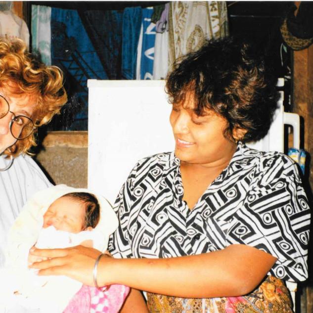 Paula and new baby at Ista, Bali 1990-1