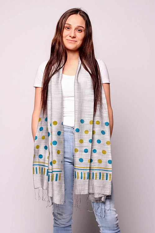 Dots Scarf in Grey/Teal