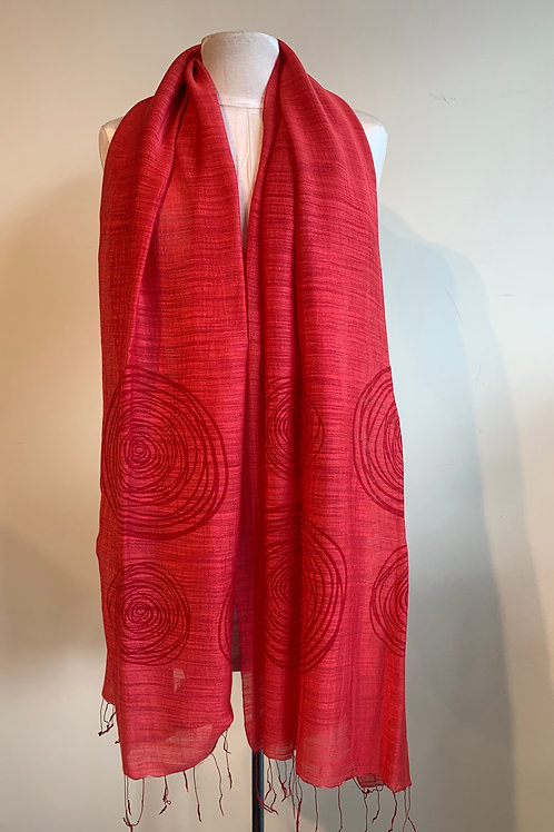 Modern Circles Scarf in Ruby Red
