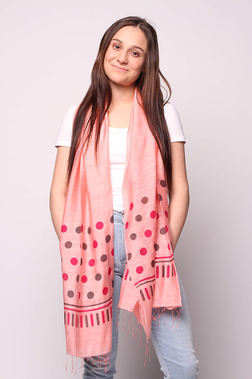 Dots Scarf in Salmon/Brown