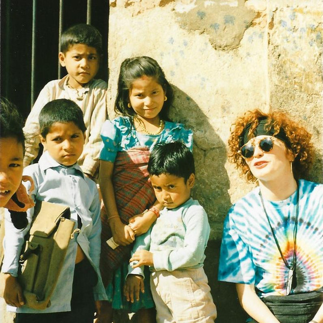 Paula with kids - Kathmandu, Nepal 1988.