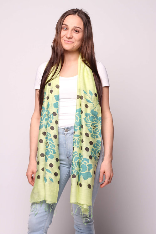 Orchids & Dots Scarf in Melon