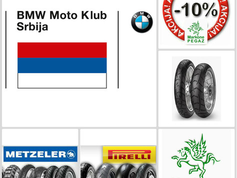 10% popusta za Pirelli i Metzeler gume za članove BMW Moto Klubova!