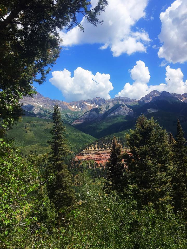 The little ski town of Telluride, CO exists in a box canyon  - meaning views like this can be enjoyed from pretty much every direction.