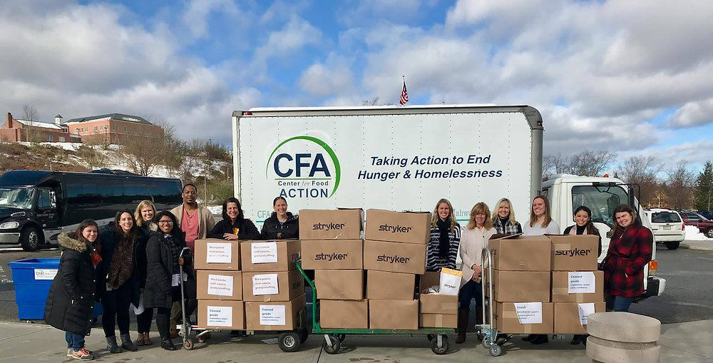 stryker mahwah partnership with bergen country center for food action