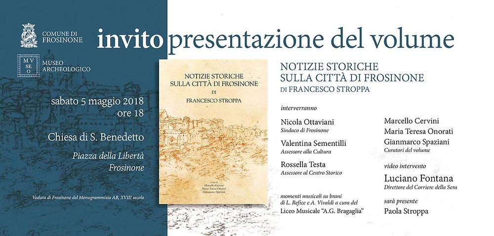 Invito presentazione del volume ''Notizie storiche sulla Città di Frosinone''