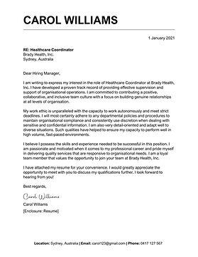 TopStack Cover Letter Sample - Australia