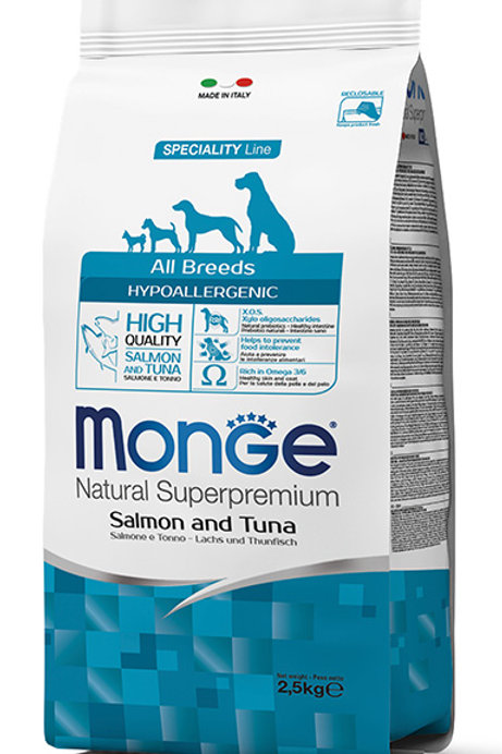 Monge Hypoallergenic Salmon & Tuna Dry Dog Food (2 Sizes)