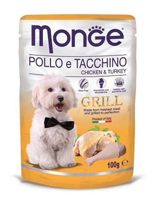 Monge Grill Pouches Chicken & Turkey 100g