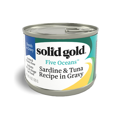Solid Gold Five Oceans Cat GF Sardines & Tuna 6oz