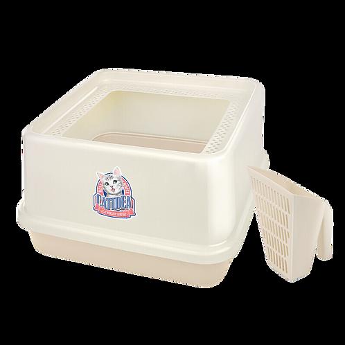 Cat Idea Top Entry Cat Litter Box 44x44x25cm Cream
