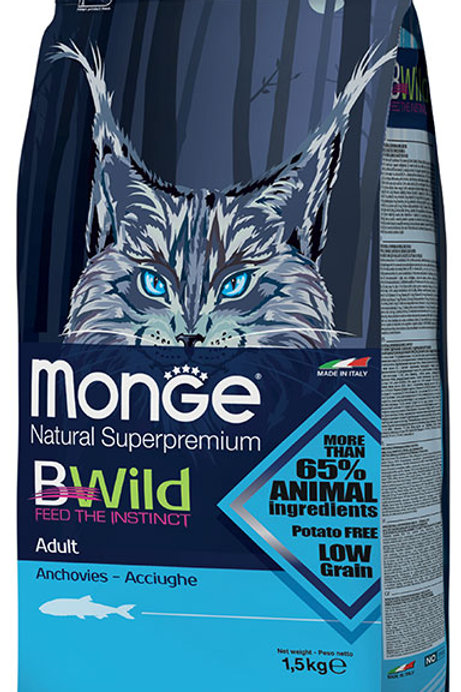 Monge Bwild Cat Adult Anchovies Dry Food 3.3lbs