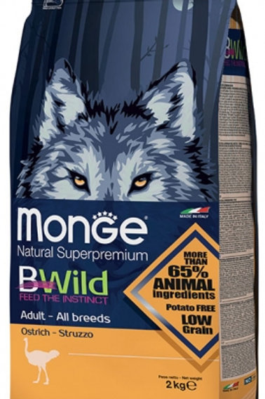 Monge Bwild Adult Ostrich Dry Dog Food (2 Sizes)