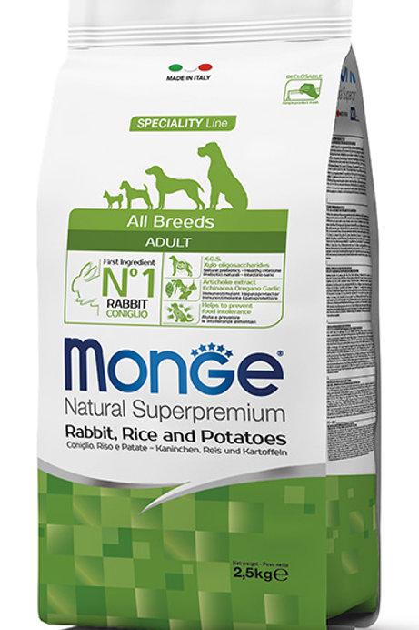 Monge Adult Rabbit, Rice & Potatoes Dry Dog Food (2 Sizes)