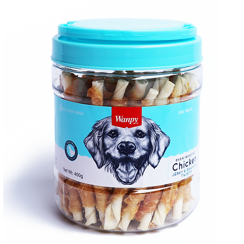 Wanpy Oven-Roasted Chicken & Rawhide Twists 400g
