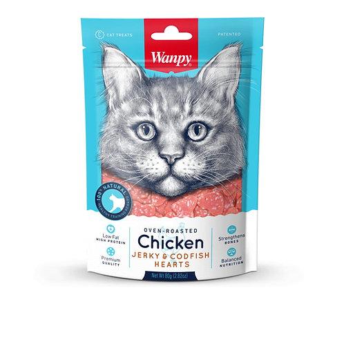 Wanpy Cat Oven-Roasted Chicken & CodFish Hearts 80g