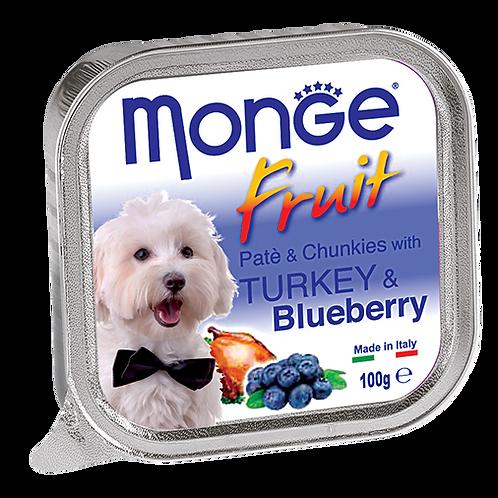 Monge Fruits Pate & Chunkies With Turkey & Blueberry 100g