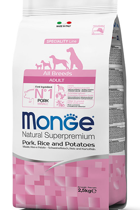 Monge Adult Pork, Rice & Potatoes Dry Dog Food (2 Sizes) Monge Adult Pork & Rice