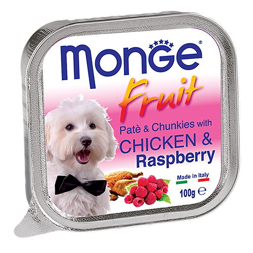Monge Fruits Pate & Chunkies With Chicken & Raspberry 100g