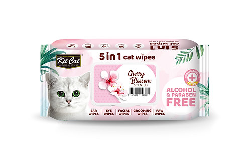 Kit Cat 5 in 1 Cat Wipes - Cherry Blossom