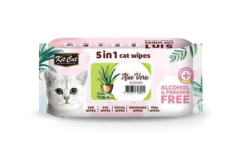 Kit Cat 5 in 1 Cat Wipes - Aloe Vera
