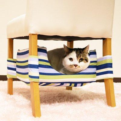 Мягкий гамак для кошек  сине-зеленый