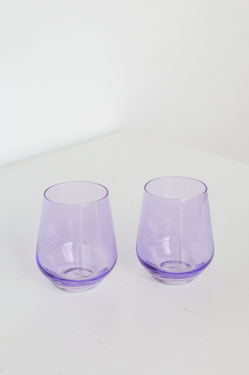 ESTELLE COLORED WINE STEMLESS - SET OF 2 {LAVENDER}