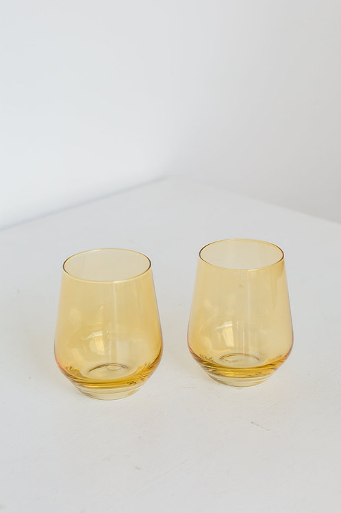 ESTELLE COLORED WINE STEMLESS - SET OF 2 {YELLOW}