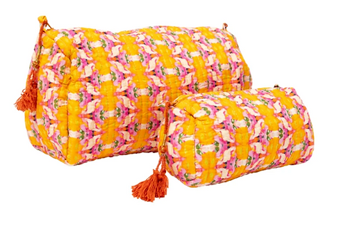 Laura Park Designs FLOWER CHILD MARIGOLD QUILTED COSMETIC BAG (LARGE)