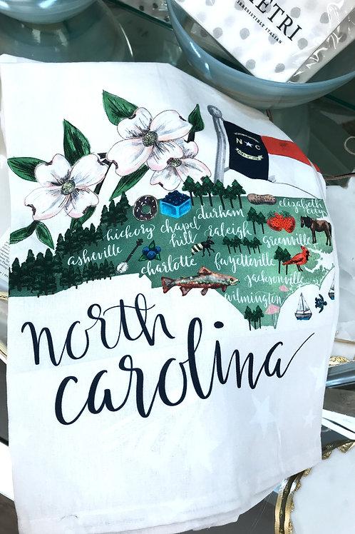 Green Box Art North Carolina State Tea Towel