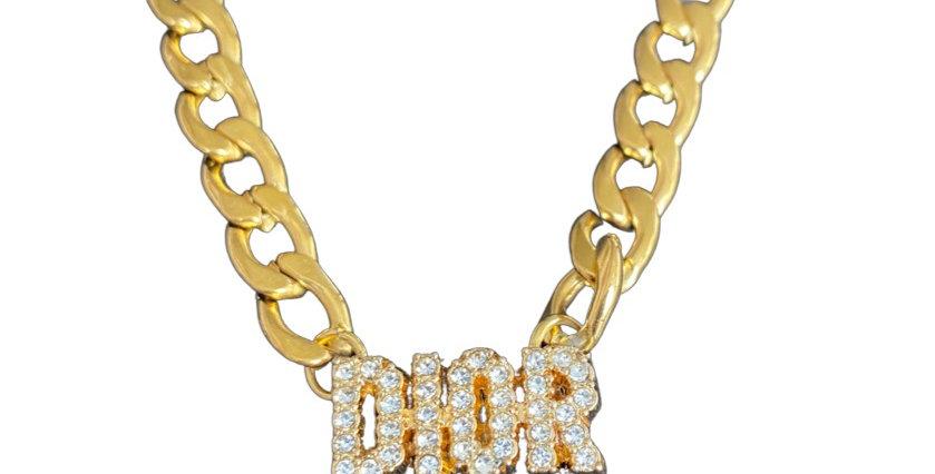 Authentic Dior Button - Repurposed Necklace