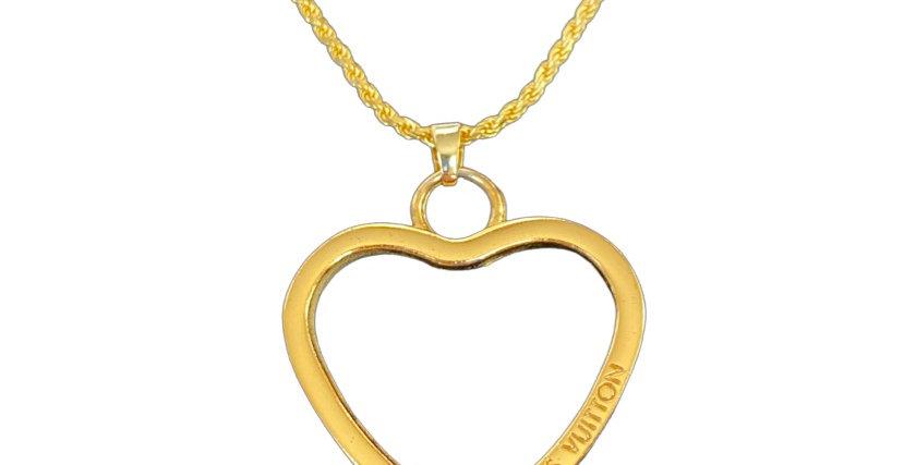 Authentic Louis Vuitton Large Heart Pendant - Repurposed Necklace