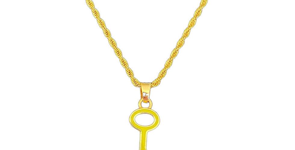 Authentic Louis Vuitton Lime Key Pendant - Repurposed Necklace