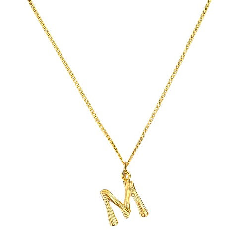 GOLD BAMBOO LETTER NECKLACE