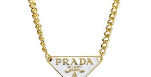 Authentic White Prada Tag - Repurposed Necklace