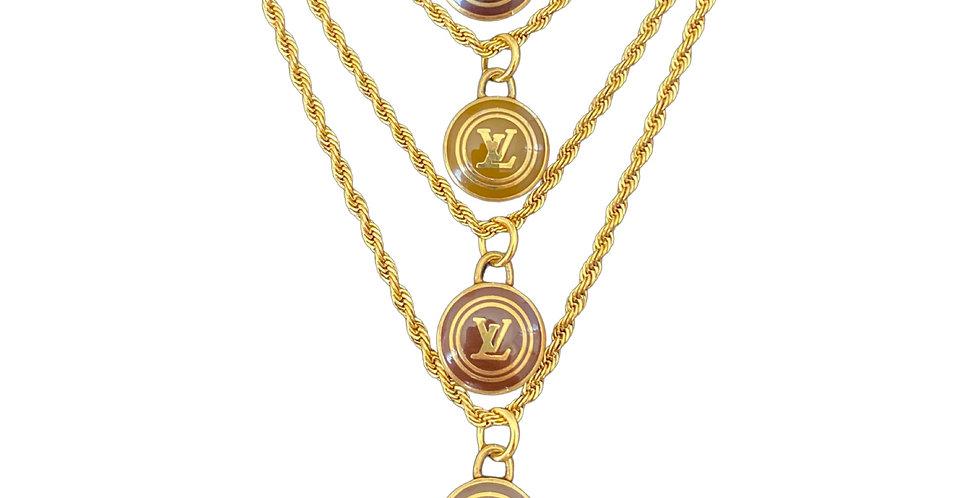 Authentic Louis Vuitton Pastille Logo Pendant - Repurposed Necklace