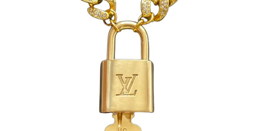 Authentic Vintage Louis Vuitton Padlock - Cuban Link Repurposed Necklace