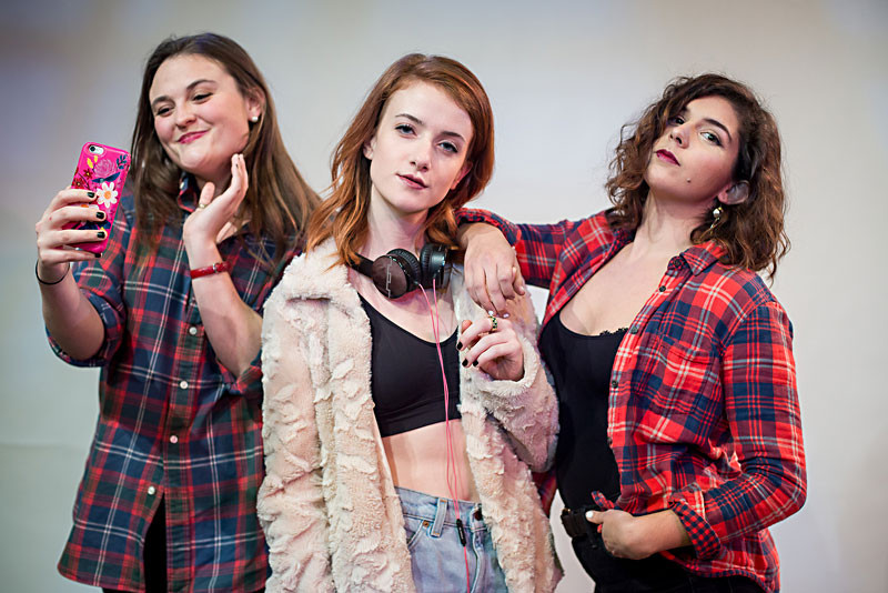 """Hailey Lynn Suggs, Natalie Tischler, and Sarah Kimberly Becker in """"Life's No Way"""" PHOTO BY BRET BROOKSHIRE"""