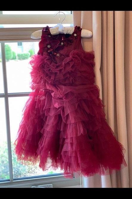 Burgundy Dress Model Call 3/4
