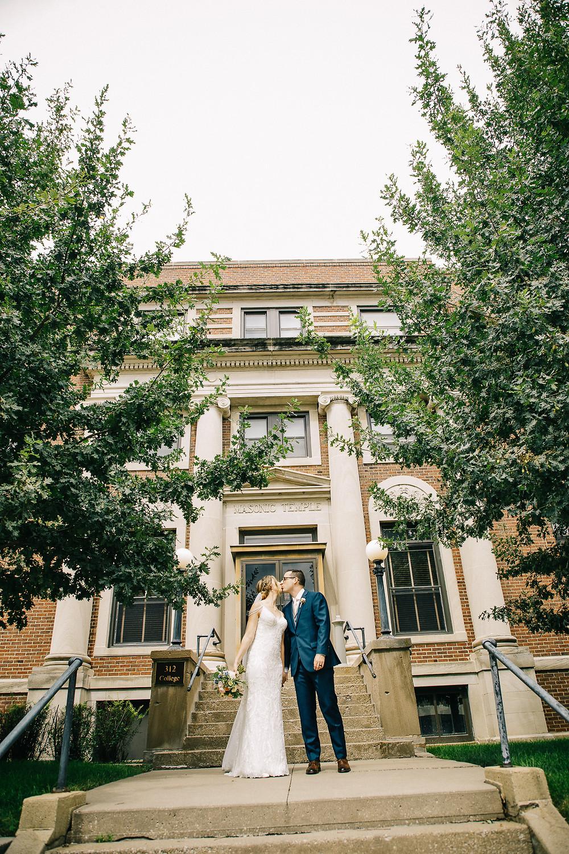 Masonic Lodge photo, Formal wedding. Bride and Groom, Iowa City, Iowa