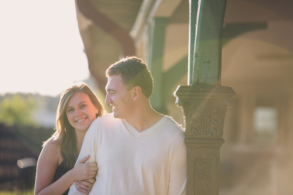 Engagement photos at a train station in Ames, Iowa.