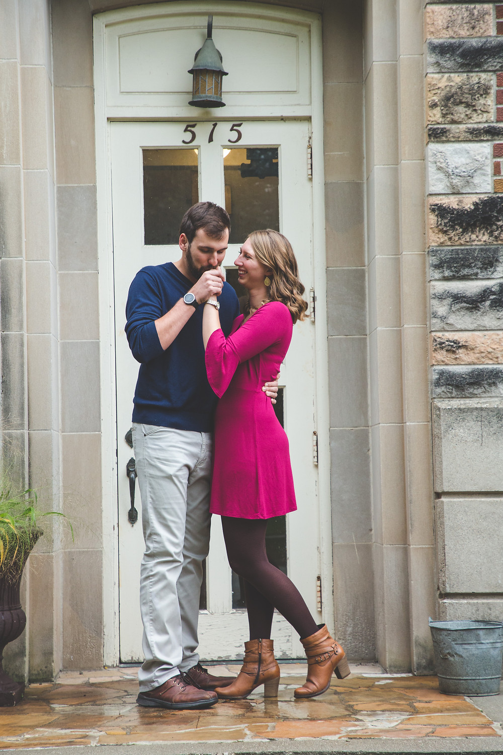 Engagement photos in downtown Ames