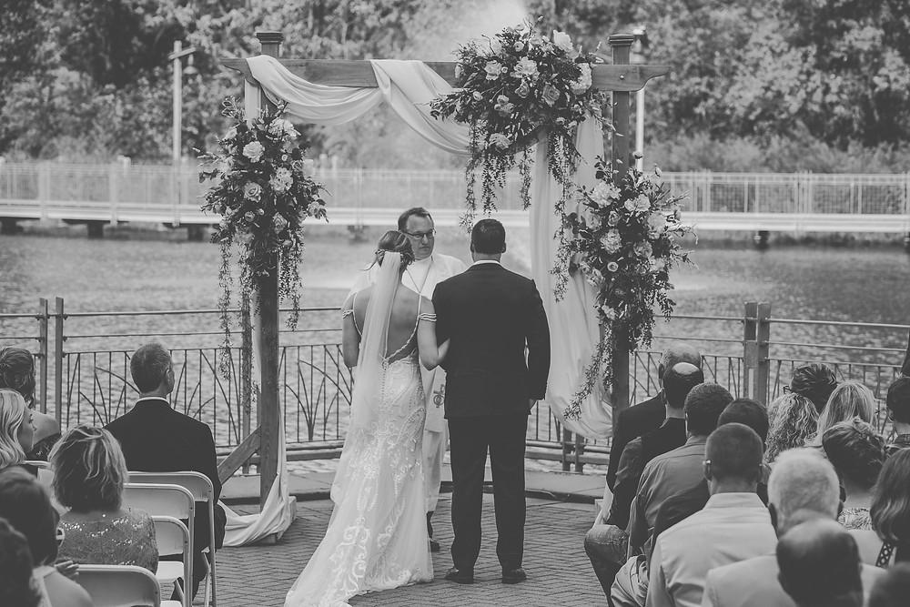 Bride and Groom, flower trellis