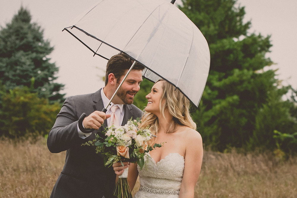 Bride and groom in a field under an umbrella.