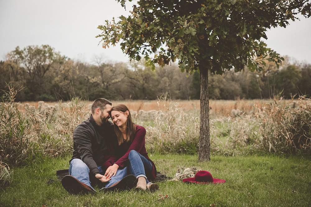 beautiful couple in a field